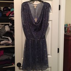 Flowy blue dress Very cute blue dress with drape neck blue slip dress underneath. I am 6'1 it's just to short for me. Worn once! Dresses Midi