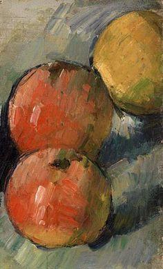 'Deux pommes et demie (Three Apples)' 1878-79) by French artist Paul Cézanne (1839-1906). Oil on canvas, 6.5 x 4 in. via the Barnes Foundation, Philadelphia