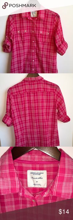 American Eagle Favorite shirt size 12 American Eagle Favorite shirt Size 12 lightweight perfect for Spring.  No flaws or stains. Smoke free home American Eagle Outfitters Tops Button Down Shirts