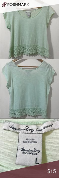 American Rag Mint Green Crochet Top This American Rag top has a bright mint green color and crochet detail at the bottom 💚 Perfect for Spring or Summer seasons ☀️🌷 This has been my favorite top for years now and I think it's time for it to have a new owner ✨ Gently used, good as new!   Product details: - 60% Cotton & 40% Modal American Rag Tops Tees - Short Sleeve