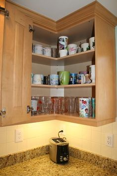 Easy Reach Upper Kitchen Cabinet Corner Wall Cabinet Design Ideas,  Pictures, Remodel, and