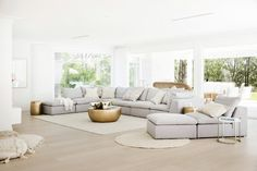 Light, bright and white on white is the theme for Three Birds Renovations House The scale and what seems like simplicity at first glance gives this home its WOW factor, but once you study the details, not one has been missed. Coastal Living Rooms, Home Living Room, Living Room Decor, Living Spaces, Decor Room, Small Living, Wall Decor, Home Renovation, Home Remodeling