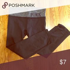 PINK workout crops Black and gray workout crops from Victoria's Secret. Gently worn with no inside tag PINK Victoria's Secret Pants Leggings