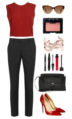 """On the red again."" by krys-imvu on Polyvore featuring RED Valentino, Alice + Olivia, Jouer, Burberry, Christian Louboutin, Michael Kors, Yves Saint Laurent, NARS Cosmetics, Lancôme and Trish McEvoy"