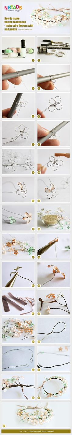 how to make flower headbands - make wire flowers with nail polish