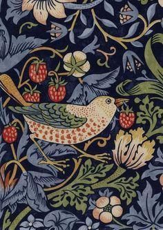William Morris Fabric/Textile Design The Strawberry Thief 1883 William Morris Wallpaper, William Morris Art, Morris Wallpapers, Gravure Illustration, Illustration Blume, Textile Patterns, Textile Design, Fabric Design, Textiles