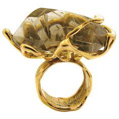 LUCIFER VIR HONESTUS A Massive Gold and Rutilated Quartz RIng  One of my favorite jewelry designers...