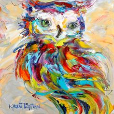 Owl Whimsy painting original oil 12x12 abstract by Karensfineart