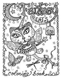 Coloring Book  fantasy Cats Be the Artist 8 x 10 Spiral Bound Book for Cat Lovers of All Ages