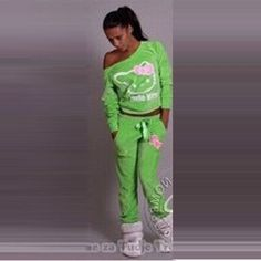 Gagaopt 2015 New Tracksuits Women Hello Kitty Print Cotton Hoodies Sweatshirts+pant Jogging Sets,Sport Suit Size S-XL