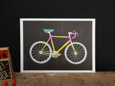 Fluor Risograph print of a Bike