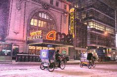 Rickshaws in the snow, New York, Hurricane Hercules
