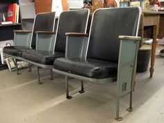 An idea for the game room.  1950's Heywood Wakefield Movie Theatre Seats - Set of 3 - More Available - Retro Vintage Industrial Eames Mid Century Modern - RARE Must See. $295.00, via Etsy.