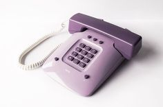 ISKRA ETA 80 855 Telephone Yugoslavia Phone Office Handset Device Soviet Purple Lilac MOMA Classic Design Push Button 80s Vintage Retro