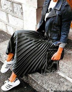 Denim Jacket + Satin Pleated Midi Skirt + Sneakers