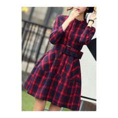 Rotita High Waist Plaid Print Belted Skater Dress ($29) ❤ liked on Polyvore featuring dresses, red, long sleeve skater dress, red tartan dress, print dress, long-sleeve mini dress and long-sleeve skater dresses