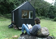 Stay in Unyoked's Tiny, New Off-the-Grid Cabins - Broadsheet Off Grid, Cabin Design, Tiny House Design, Bothy, Garden Office, Tiny House Movement, Cabins In The Woods, Black House, Solar Power