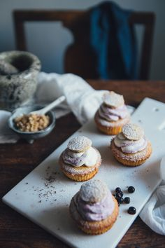 """sweetoothgirl: """" Muffin """"Semla"""" with Crunchy Marzipan Filling and Blueberry Cream """""""