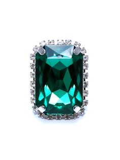 Allure Ring - Emerald Swarovski & Rhodium Silver Plated