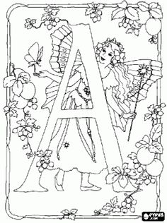 Letter A with a fairy with her magic wand and a butterfly and surrounded by flowers coloring page