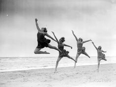 photo travel Vintage beach photo dancers leaping house home decor jumping photograph coastal home wall art black and white fine photography dance gift Types Of Photography, Candid Photography, Vintage Photography, People Photography, Dance Photography, Digital Photography, Vintage Beach Photos, Vintage Photos Women, Vintage Pictures