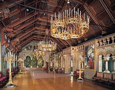 Neuschwanstein Castle near Fussen, Bavaria, Germany. This is the Singers' Hall.  Just as with most every other room in the castle: gorgeous! It's been 18 years since my visit, but I still want to go back!