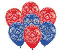 """Compliment your decor with balloons at your Farm, Barnyard, Western, Cowboy, or Cowgirl Party! + Package includes (7) 11"""" printed latex balloons, as pictured + Balloons will be any combination of red"""
