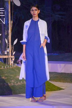 #Blue long #kurta top over a blue #palazzo, along with a thin fabric white #cape by #AnitaDongre #Grassroot