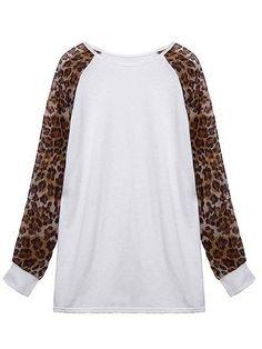 Leopard Chiffon Loose Casual Long T-Shirt