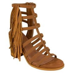 Women's Cover Girl Cynthia Fringe Stack Heel Sandals - Cognac (Red) 6.5