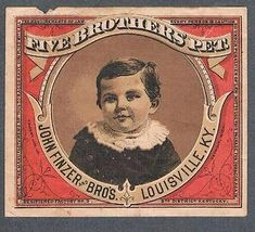 Original-Decada-de-1900-Louisville-John-Finzer-amp-Bros-cinco-hermanos-Mascota-Etiqueta-de-tabaco