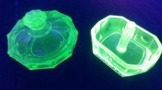 Art Deco Uranium Glass Small Trinket Pot and Ring Tree by VintageDecoUK on Etsy Dressing Table Set, Tree Rings, Shop Art, New Shop, Vaseline, Little Gifts, Glow, Art Deco, Kitchen