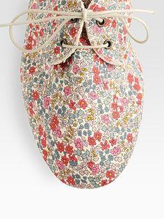 Anniel  Floral-Print Canvas Lace-Up Derby Shoes  saks.com