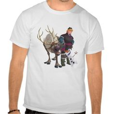 A Frozen shirt for the boys and men features Sven, Olaf and Kristoff Tshirt can be customized for shirt style in sizes to fit everyone on your gift list.  Click customize it to add a name or favorite text.