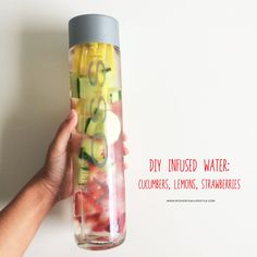 I just had to do another DIY Water Infused again using different fruits &  vegetables this time. This one taste just as refreshening, nutrient-rich as  the first one I posted a while back. Super simple & easy; just chopped up  cucumbers, strawberries and lemons, add it to a Voss Sparkling Water and  your done. Got all items at my local Whole Foods Market.  It's so easy to drink like a Voss! -xo Mel