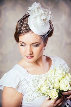 White Bridal Pillbox Hat with Birdcage Veil and by RUBINAMillinery