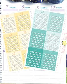 Water Intake Tracker Daily and Weekly Planner Sticker, H20 Planner Sticker Tracker, Yellow and Blue Green Mint h20 Tracker Planner Sticker