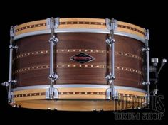 Craviotto 14 x 6.5 Custom Shop 45/45 Walnut Snare Drum w/ Double Cherry Inlay & Wood Hoops