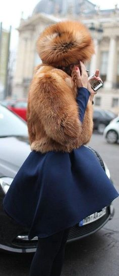 Chic In The City...Navy Blue and Camel Fox- LadyLuxuryDesigns