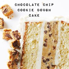 This scrumptious Chocolate Chip Cookie Dough Cake is what happens when a moist cake collides with chocolate chip cookies. #BiteMeMore