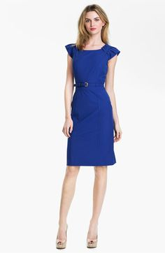 Tahari Cap Sleeve Belted Sheath Dress in Cobalt Blue - Love the color and detail