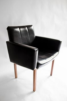 Mid Century Lounge Chair - Modern, Danish, Retro, Side, Armchair, Industrial, Black, Leather, Wood