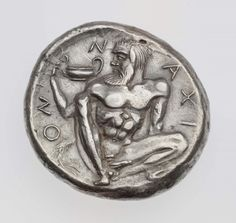 Tetradrachm of Naxos with head of Dionysos.      Greek, Early Classical Period, about 460 B.C.