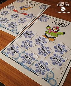 Vowel pairs sorting mats winter themed!