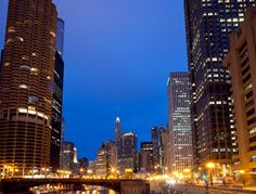 Downtown Chicago during the holidays, as seen from the Clark Street Bridge.