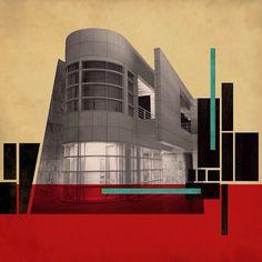 Colour Architecture, Architecture Collage, Architecture Drawings, School Architecture, Futuristic Art, Futuristic Architecture, City Collage, Collage Landscape, Arte Punk