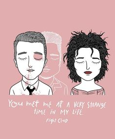 Tyler Durden and Marla Singer from Fight Club, a film by David Fincher. Hey guys, I need your help, any suggestion for my next illustration? Tyler Durden, Fight Club Brad Pitt, Sad Movies, Movie Tv, Indie Movies, Marla Singer, Illustrator, Movies And Series, Movie Couples