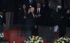 Former South African apartheid era President Frederik Willem de Klerk waves as he arrives for South African former president Nelson Mandela ...