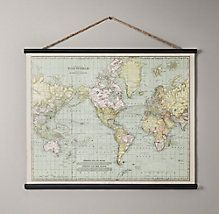 A world map print with an aged vintage map look the print on this vintage world map tapestry rh baby and child gumiabroncs Images