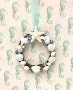 Seashell Wreath with Starfish - Christmas Beach Decor/Coastal Wreath/seashell wreath/sea shell wreath/starfish/star fish